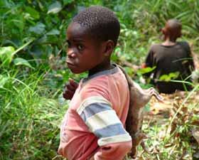 Enfant Pygmée Bagyeli au retour de chasse